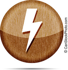wooden lightning icon on a white