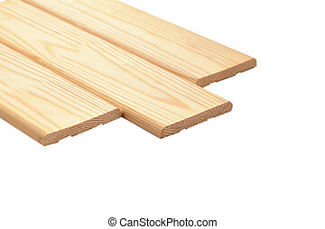 Wooden lining on a white background, isolated.