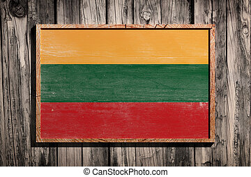 Wooden Lithuania flag