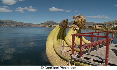 Wooden Load Structure On Uros Reed Boat, Peru - Close-up,...