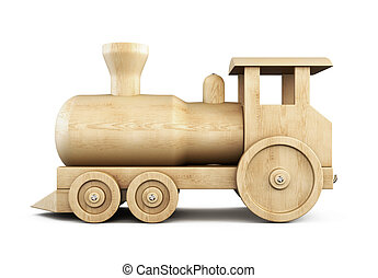 Wooden locomotive side view on a white. 3d.