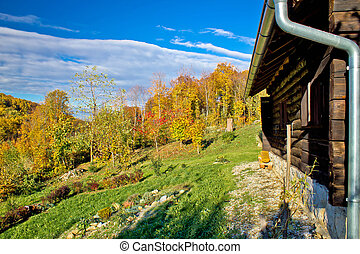 Wooden lodge in autumn mountain nature, Kalnik mountain...