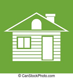 Wooden log house icon green