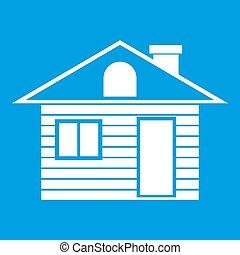Wooden log house icon white