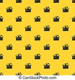 Wooden log house pattern vector
