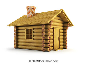 wooden log-house - isolated wooden log-house 3d rendering
