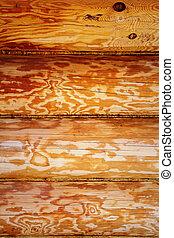 Wooden log wall