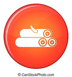 Wooden logs icon, flat style