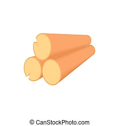 Wooden logs icon in cartoon style