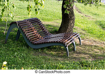 Wooden loungers under a shady tree in the park