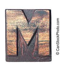 wooden M typeface - detailed vintage wooden M letter...