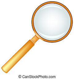 wooden magnifying glass against white background, abstract...