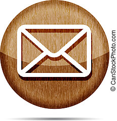 wooden mail icon isolated on white