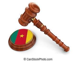 3d wooden mallet and Cameroon flag. Image with clipping path