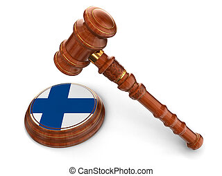 Wooden Mallet and Finnish flag - 3d wooden mallet and...