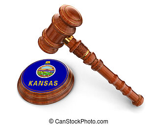 Wooden Mallet and flag Of Kansas
