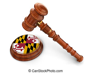 Wooden Mallet and flag Of Maryland