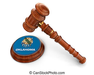 Wooden Mallet and flag Of Oklahoma