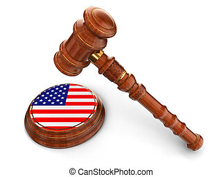 Wooden Mallet and US flag - 3d wooden mallet and US flag....