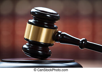 Wooden Mallet In Courtroom - Closeup photo of wooden mallet...