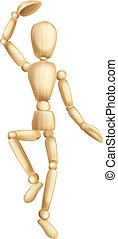 Wooden man dancing - An illustration of a dancing wooden...