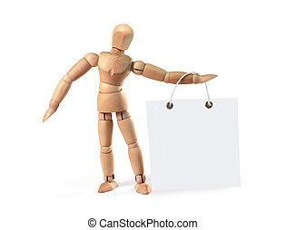 Wooden man holding blank poster