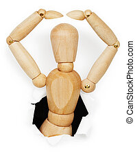 Wooden man leaned out of hole