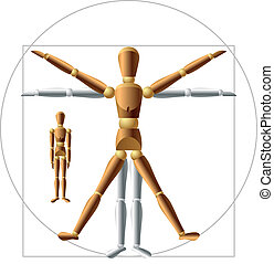Wooden man - Vector. You can easily change posture, all ...