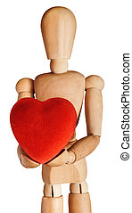 Wooden Mannequin Holding Soft Red Heart in Both Hands