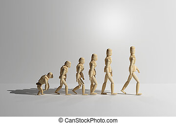 Wooden mannequin prototype of human evolution - 3d rendering...