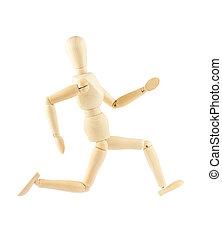 Wooden mannequin running