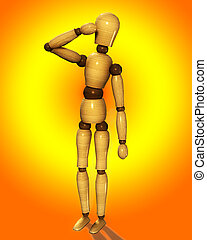 Wooden Mannequin Thinking 2