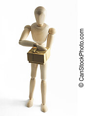 Wooden mannequin with a gift in hands