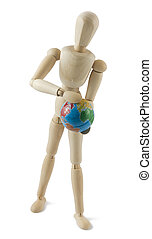 Wooden mannequin with a globe in hands