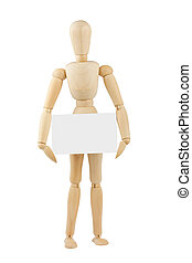 wooden mannequin with blank card