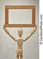 Wooden mannequin with frame