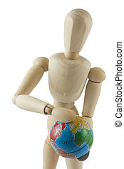 Wooden mannequin with globe
