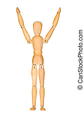 Wooden mannequin with hands up in the air