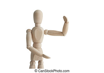 Wooden mannequin with holding pose