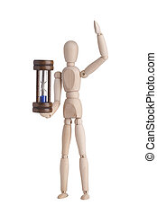 Wooden mannequin with hourglass