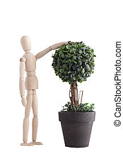Wooden mannequin with plant