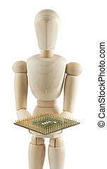 Wooden mannequin with processor