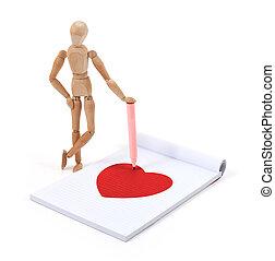 Wooden mannequin writing - Heart