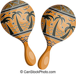 Wooden maracas in tribal style. Isolated on white background. Ve