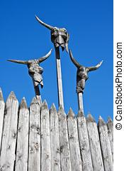 wooden masks   - wooden masks against the blue sky