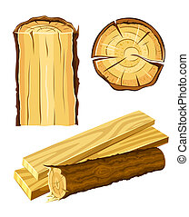 set of wooden materials - wood and board illustration isolated on white background