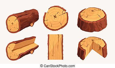 wooden materials set on white