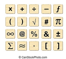 A set of math symbols on wooden squares over a white background