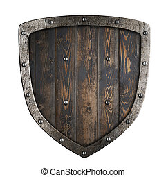 Wooden medieval vikings shield with metal frame 3d illustration