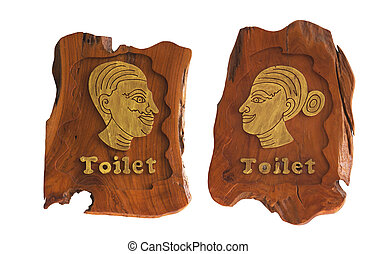 Wooden Men and Women of toilet sign isolated on white